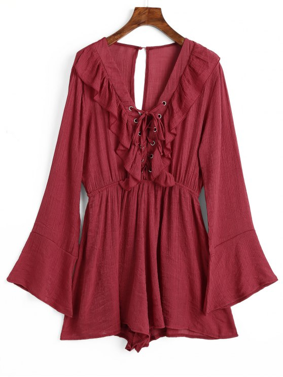 new Cut Out Long Sleeve Lace Up Romper - RED XL