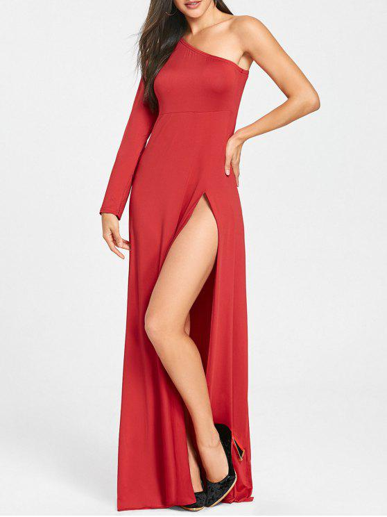 2018 One Shoulder High Slit Empire Waist Dress In RED 2XL | ZAFUL