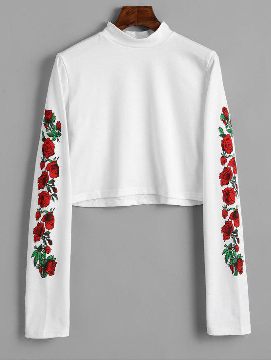 fashion Floral Print High Neck Crop Tee - WHITE L