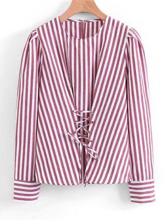 hot Stripes Lace Up Blouse - STRIPE S