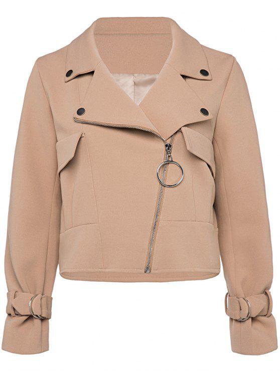 women's Cropped Zip Up Jacket - KHAKI L