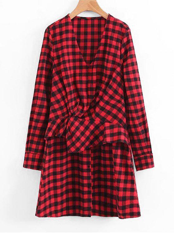 Plaid Ruffles Drapeado vestido de manga comprida - Vermelho L