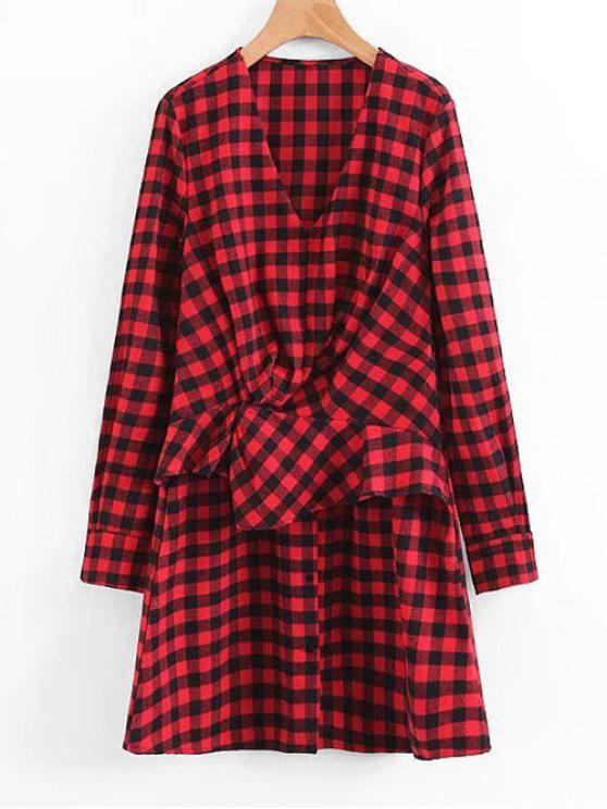 fashion Plaid Ruffles Draped Long Sleeve Dress - RED S