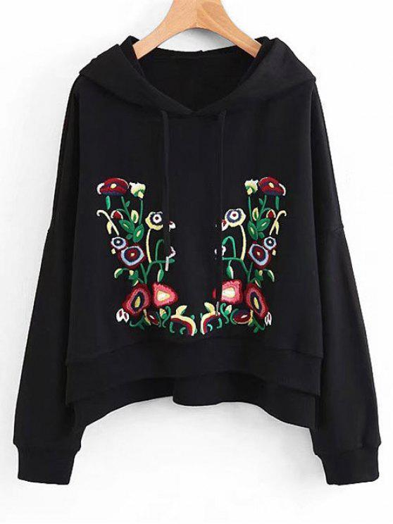 chic Side Slit Oversized Floral Embroidered Hoodie - BLACK S
