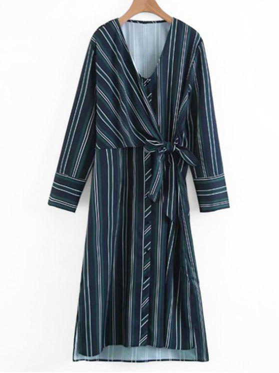 hot Long Sleeve Wrap Stripes Casual Dress - STRIPE M