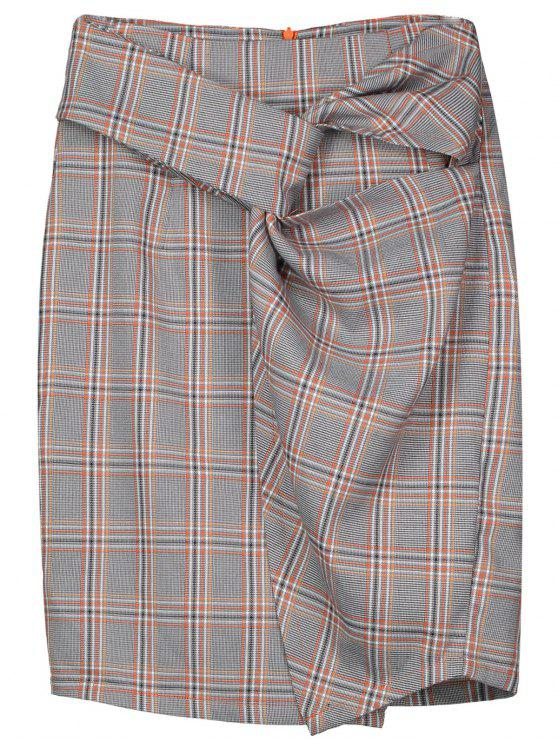 trendy Checked Twist Pencil Skirt - CHECKED XL