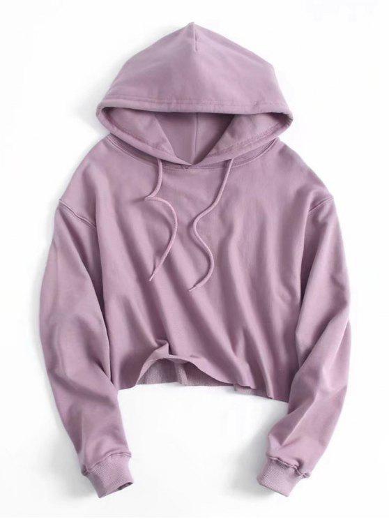Drawstring Plain Cropped Hoodie - Purple M 744ce9e0a