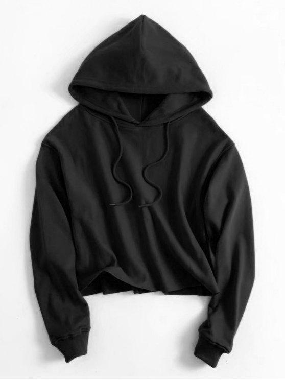 affordable Drawstring Plain Cropped Hoodie - BLACK M