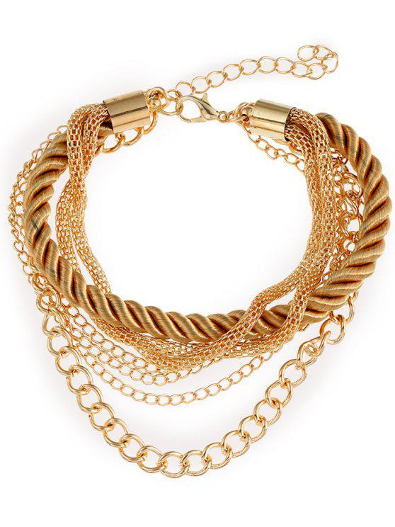 Pulsera de cadena con flecos de cuerda multicapa - Amarillo