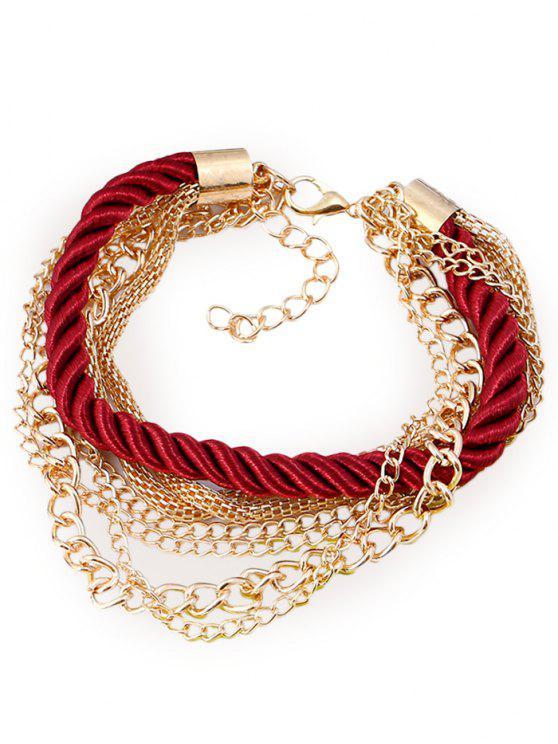 Bracelet à Plusieurs Branches Motif Corde Chaîne et Frangée - Rouge