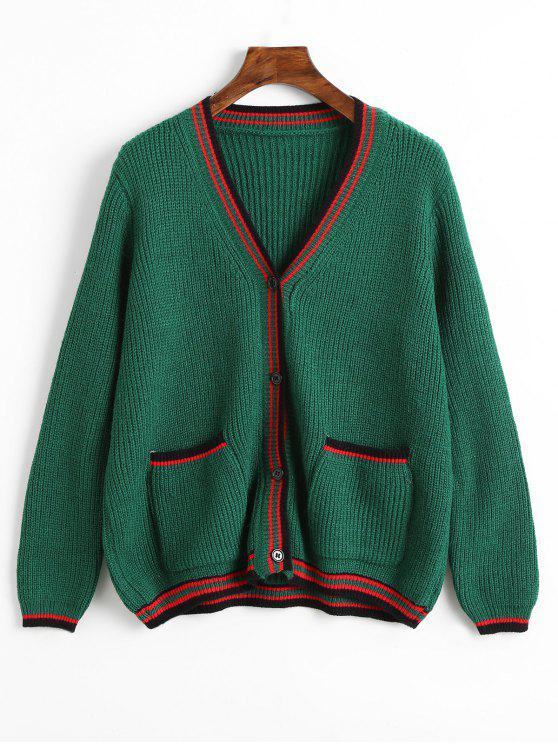 ladies V Neck Button Up Striped Cardigan - GREEN ONE SIZE