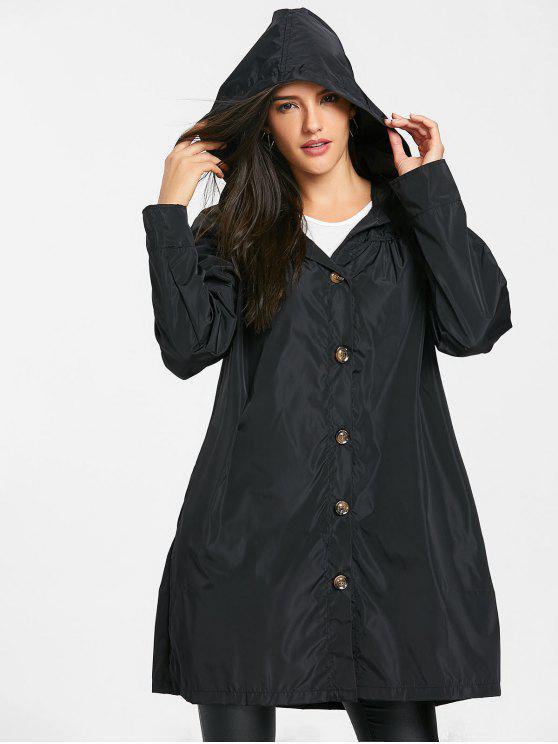 مقنعين معطف واحد الصدر مع زلة الجيب - أسود 2XL