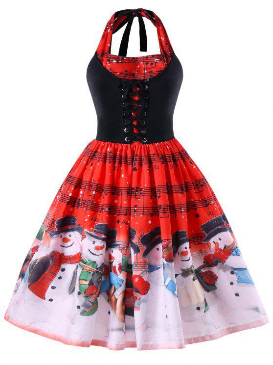 Natal mais tamanho Notas de música Halter Dress - Vermelho 4XL