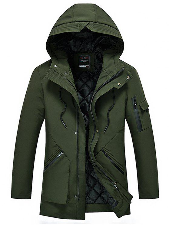 womens Hooded Zip Up Padded Cargo Coat - ARMY GREEN XL