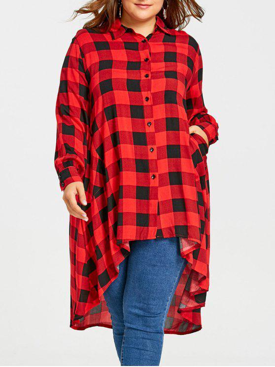 زائد حجم طويل طويل منخفض الترتان قميص - أحمر 5XL