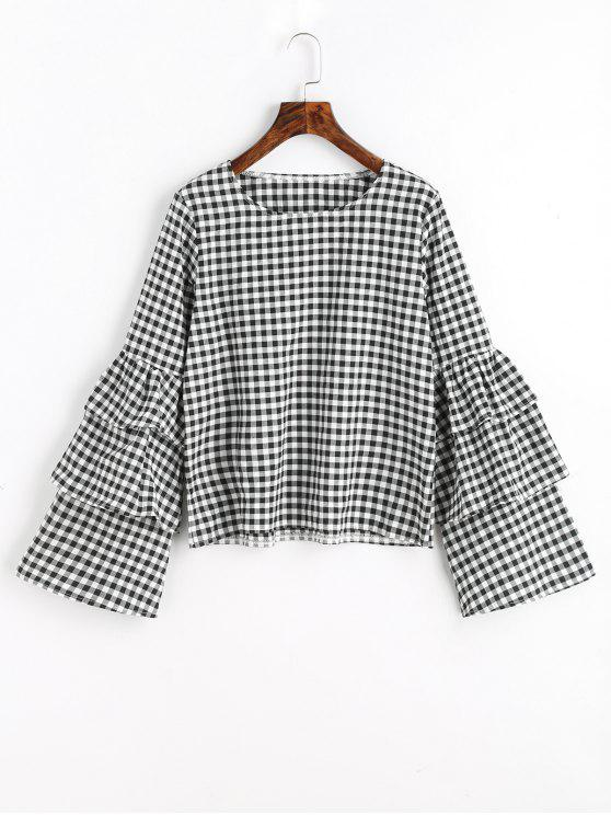 c6da50c8a798f0 29% OFF] 2019 Tiered Flare Sleeve Checked Blouse In CHECKED | ZAFUL
