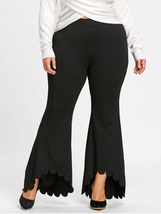 hot Plus Size Scalloped Edge Flare Pants - BLACK 2XL