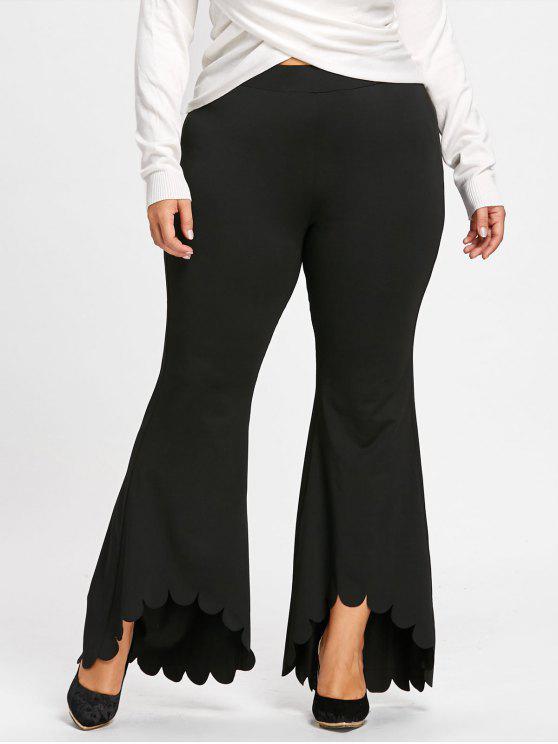 Plus Size überbackene Edge Flare Hose - Schwarz 4XL