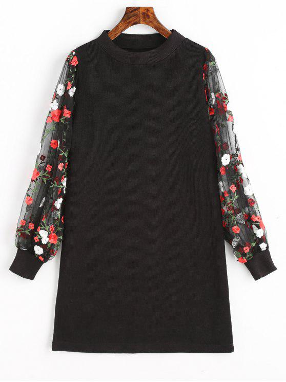 fancy Mesh Panel Floral Mini Knitted Dress - BLACK S