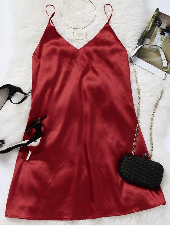 Vestito Estivo Mini Con Spalline - Rosso Scuro S
