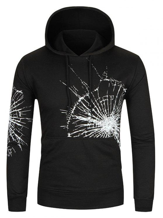 Crack Glass Print Kangaroo Pocket Hoodie - Preto L