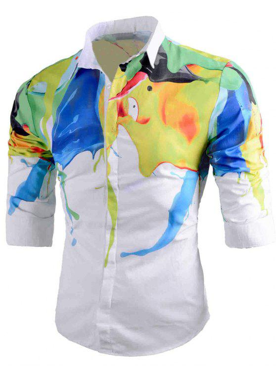 trendy Abstract Paint Print Button Up Shirt - WHITE L