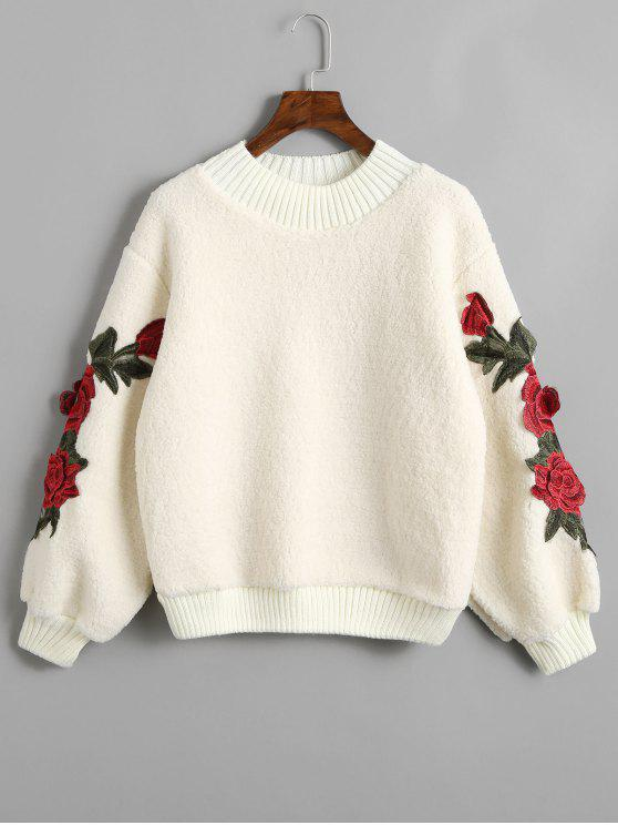 trendy Floral Appliques Ribbed Hem Shearling Sweatshirt - OFF-WHITE ONE SIZE