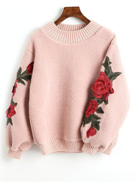 women Floral Appliques Ribbed Hem Shearling Sweatshirt - LIGHT PINK ONE SIZE
