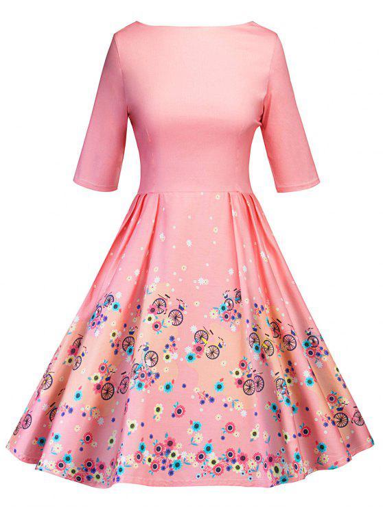 robe patineuse vintage imprim floral d coup rose p le robes 2018 2xl zaful. Black Bedroom Furniture Sets. Home Design Ideas