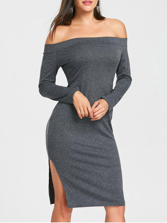 28149c017a0 Off The Shoulder High Slit Midi Bodycon Dress