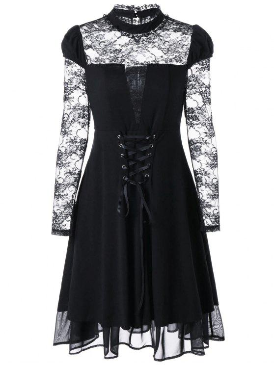 2019 Sheer Lace Up Gothic Dress In Black M Zaful