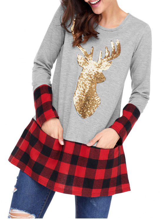 2c07380263e 25% OFF] 2019 Christmas Sequin Deer Patterned Tunic Plaid Blouse In ...