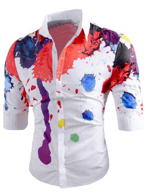 قميص الأكمام لون، لون - أبيض 2XL