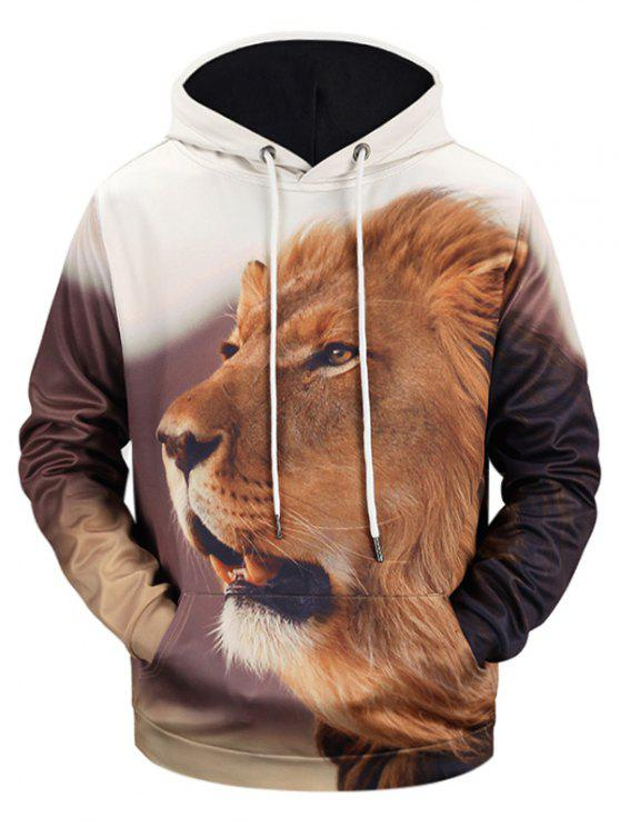 women Lion 3D Print Kangaroo Pocket Hoodie - COLORMIX M