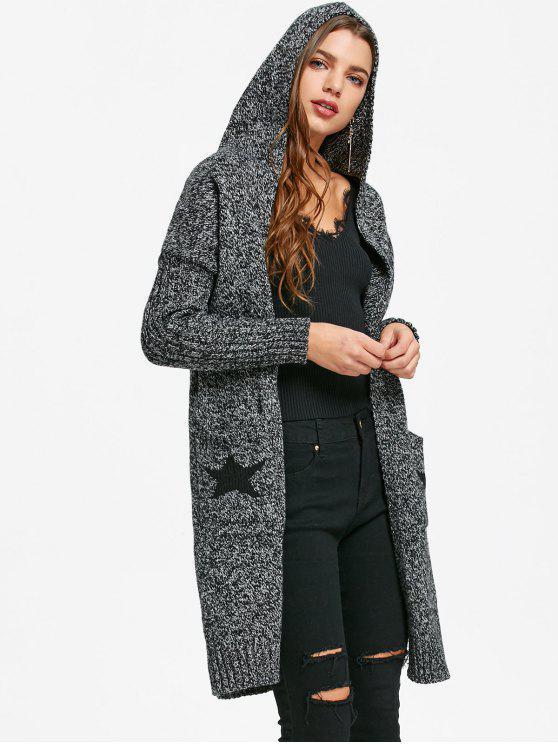 Star Intarsia Hooded Longline Cardigan DARK HEATHER GRAY: Sweaters ...