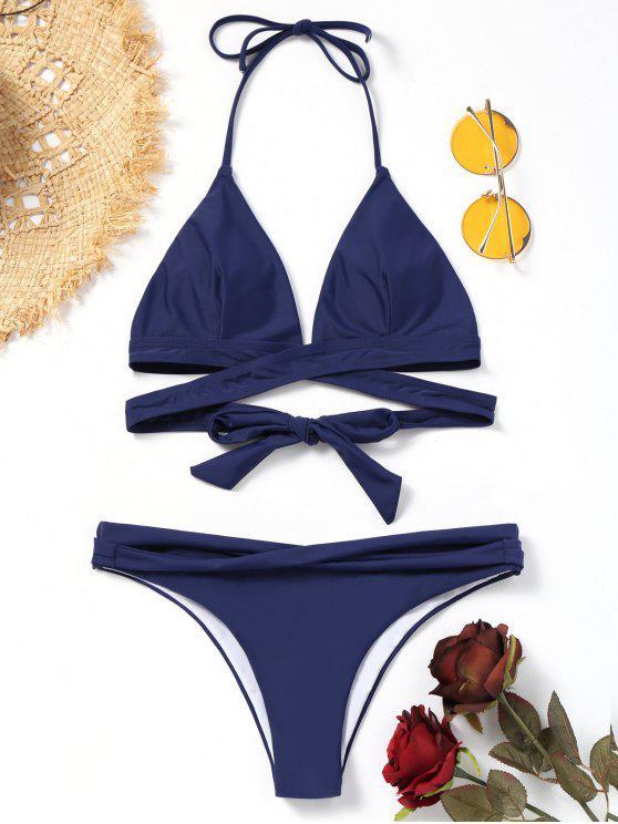 Halter Bandage Wickel Bikini Set - Tiefes Blau L