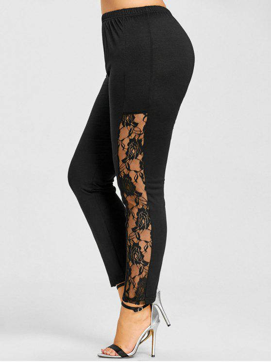 hot Plus Size Lace Insert Skinny Leggings - BLACK XL