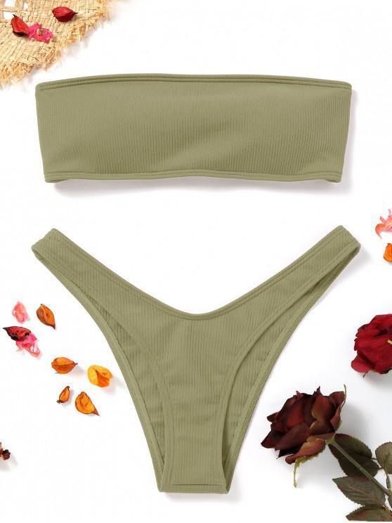 womens High Cut Ribbed Bandeau Bikini Set - PEA GREEN L