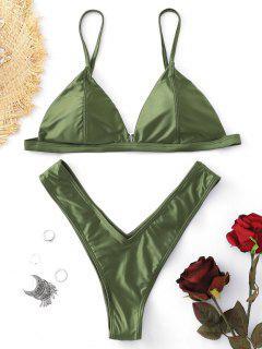 Padded High Cut Thong Bikini Set - Green S