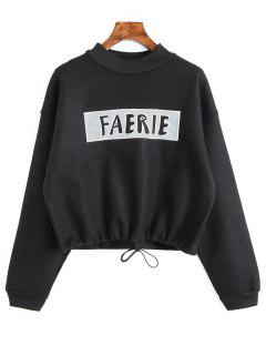 Drawstring Hem Graphic Faerie Sweatshirt - Black