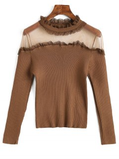 Mesh Panel Ruff Collar Ribbed Knitwear - Coffee