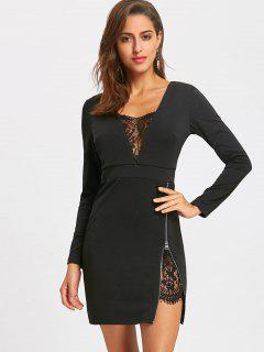Lace Trim Zip Side Mini Dress - Black M