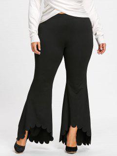 Pantalon évasé à Bordure Festonnée Grande Taille - Noir 5xl