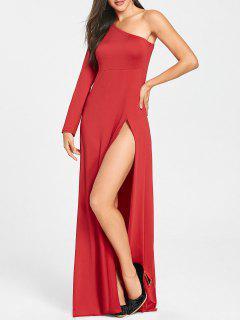 Vestido Con Cintura De Talle Alto Y Cintura Alta De One Shoulder - Rojo 2xl