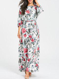 Floral Print Belted Batwing Sleeve Maxi Dress - Gray L