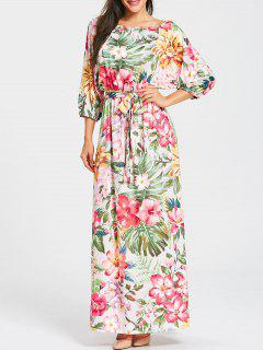 Floral Print Belted Batwing Sleeve Maxi Dress - Yellow + Green Xl