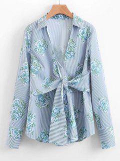 Bow Tied Floral Stripes Shirt - Light Blue L