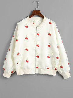 Cherry Pattern Zip Up Jacket - Off-white