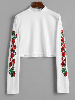 Floral Print High Neck Crop Tee - White M