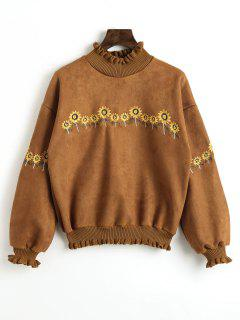 Sunflower Patched Ruffles Sweatshirt - Brown